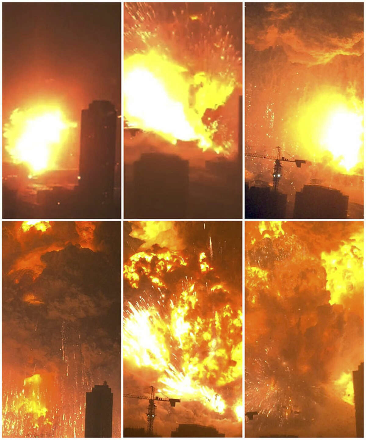 Dan Van Duren via AP In this combination of Wednesday images taken from video provided by Dan Van Duren, a warehouse explodes in Tianjin, China, as filmed from a nearby residential building. Tianjin is the world's 10th largest port.