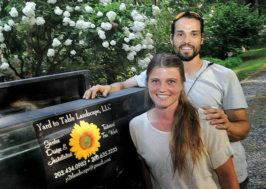 Sarah Lade and Ruben Mariscal, co-owners of Yard to Table Landscape, LLC, based in Wilton.