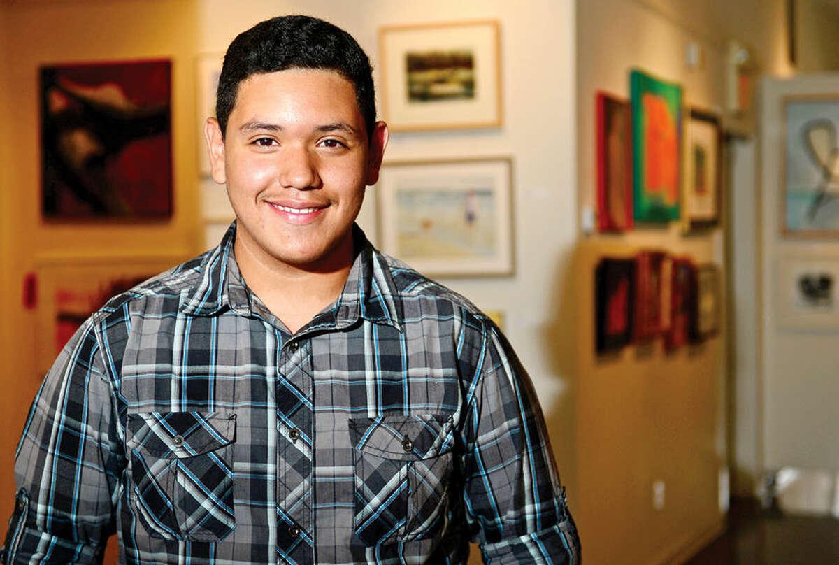 Hour photo / Erik Trautmann 14-year-old artist Leo Gonzalez has formed a youth artist's group at the Rowayton Arts Center.