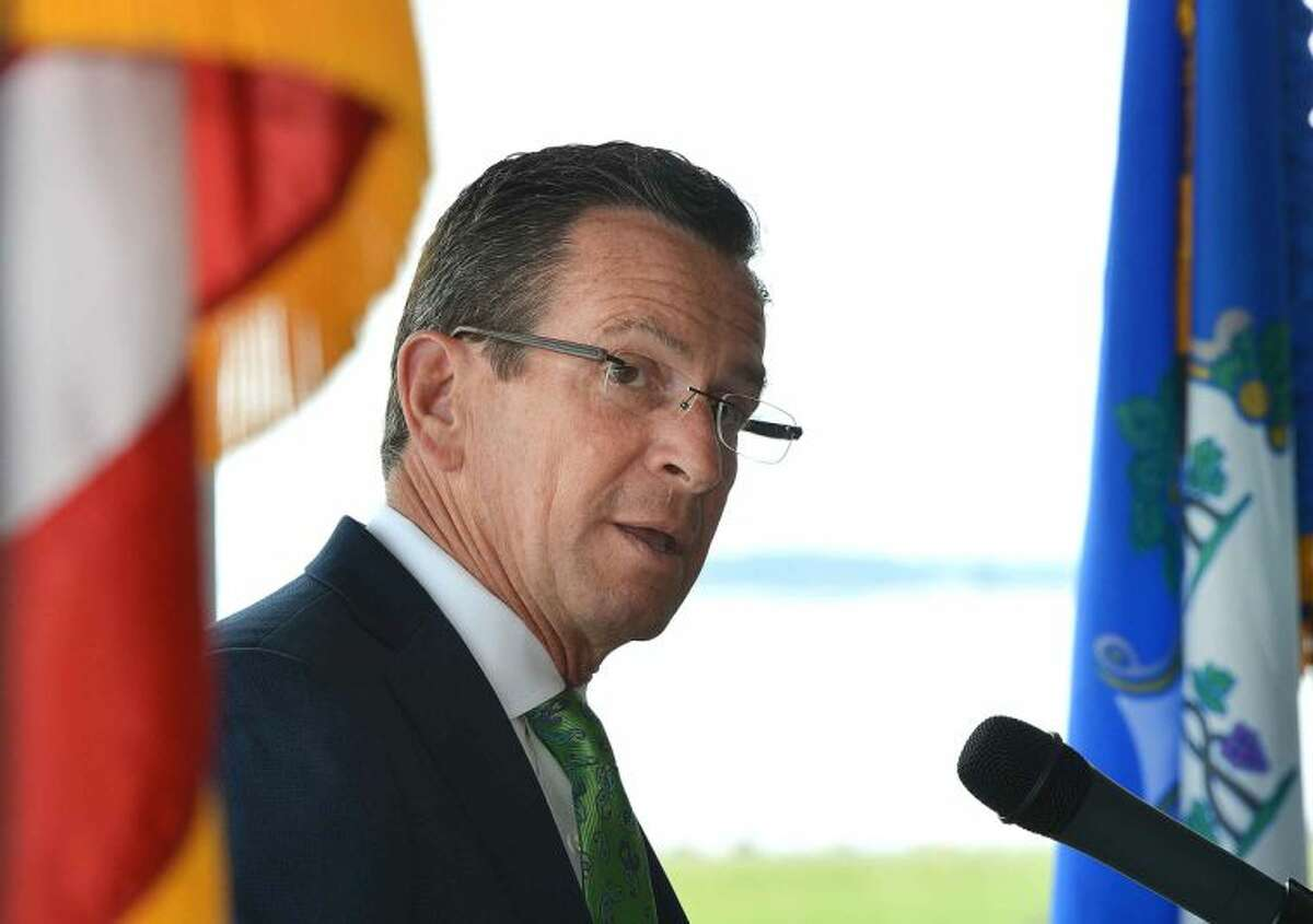 Hour Photo/Alex von Kleydorff Governor Dan Malloy speaks during an announcement to renovate the Pavilion at Sherwood Island State Park in Westport.
