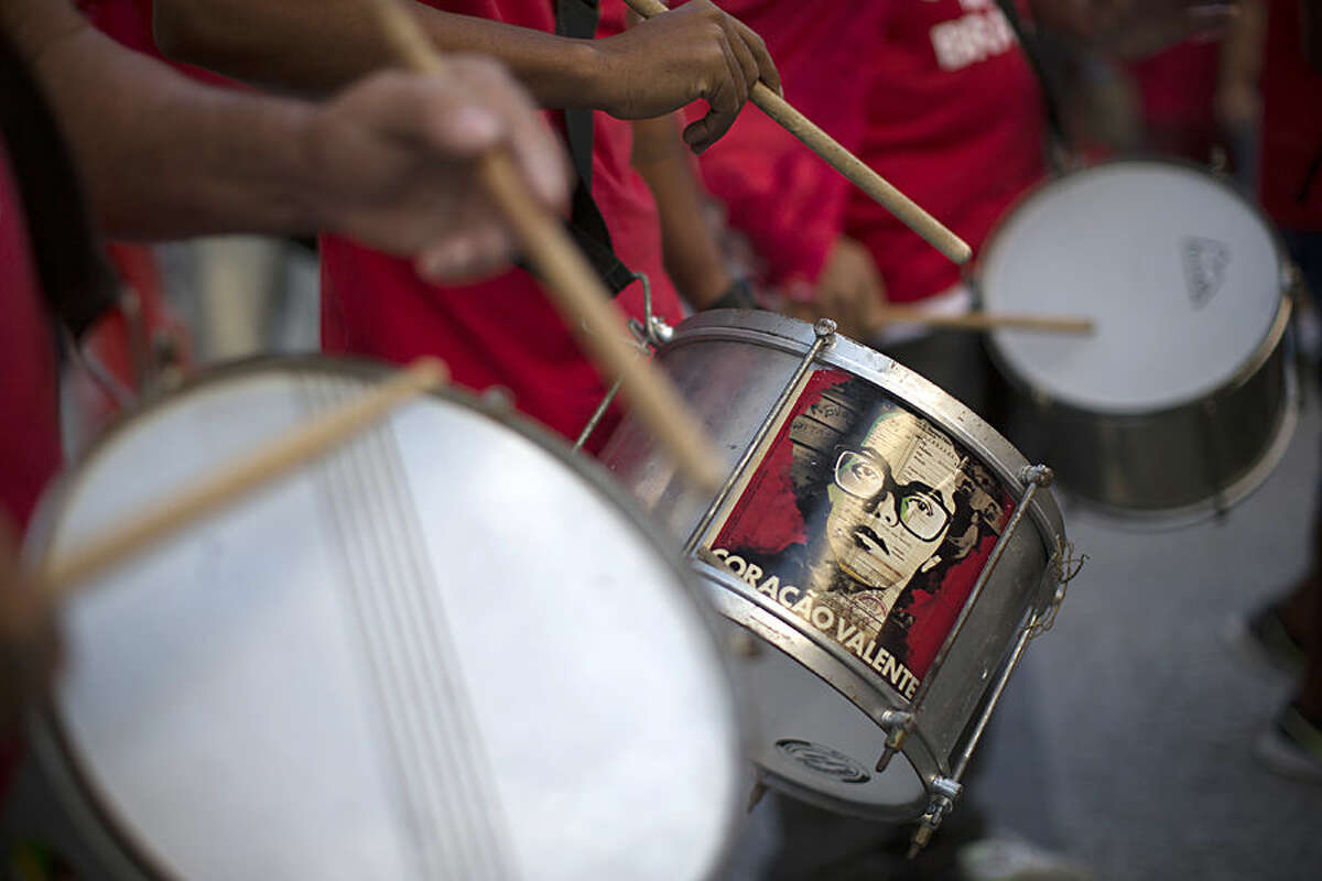 With a sticker of Brazil's Prsident DIlma Rousseff on the center drum that reads in Portuguese