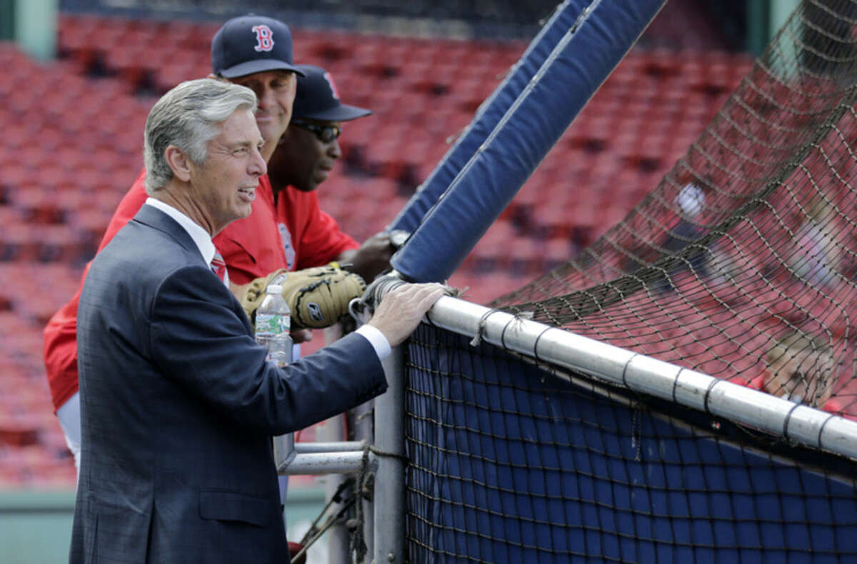 Dave Dombrowski, the Boston Red Sox new president of baseball operations, watches batting practice before a baseball game against the Cleveland Indians at Fenway Park in Boston, Wednesday, Aug. 19, 2015. (AP Photo/Charles Krupa)
