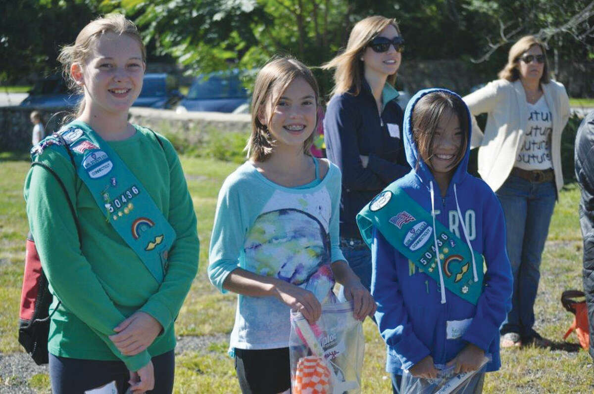 In June, Girl Scout cadette Maya Watson of Stamford (center) was named one of four national winners in the Reach for the Stars National Rocket Competition.