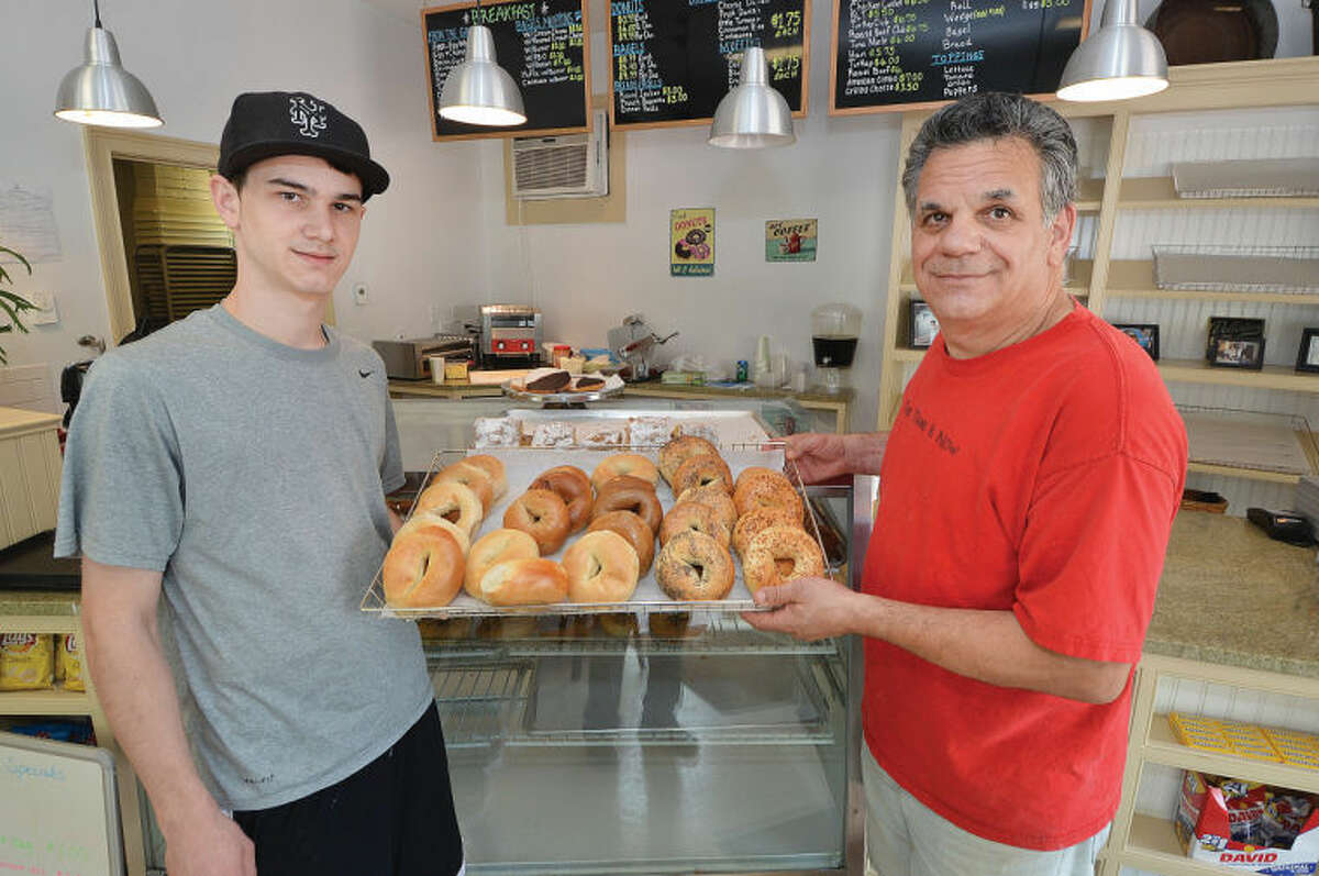 """Leo Spinelli, Jr. and his son Leo Spinelli III recently opened """"Not Just Coffee and Donuts """" in Redding."""