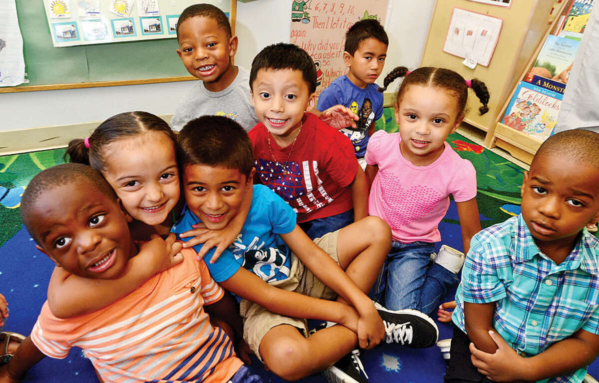 Students at Palmer's Hill Child Development Center in Stamford Friday. The Child Care Learning Centers recently honored two of their most successful