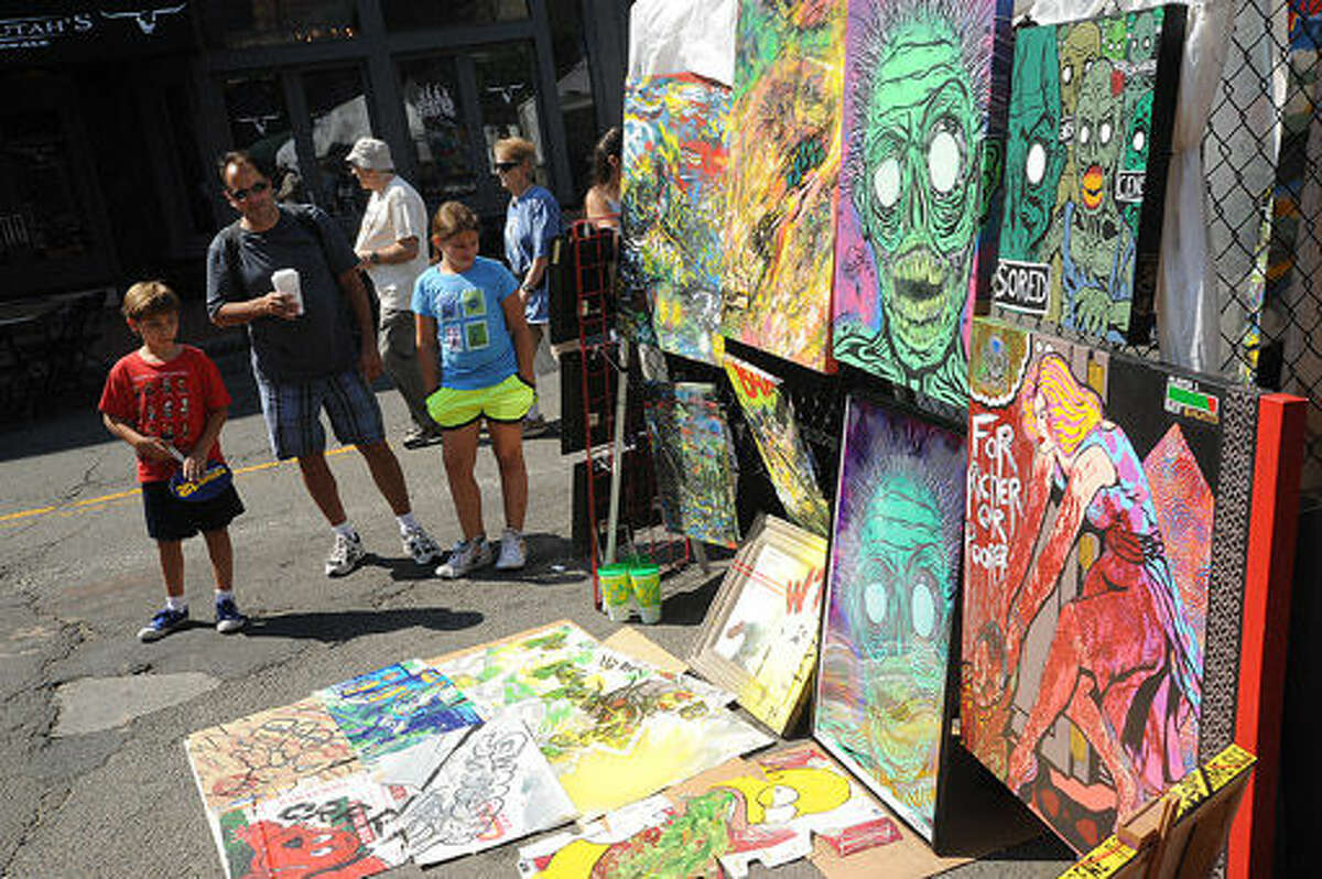 RZP art on display Sunday at the SoNo Arts Festival. Hour photo/Matthew Vinci