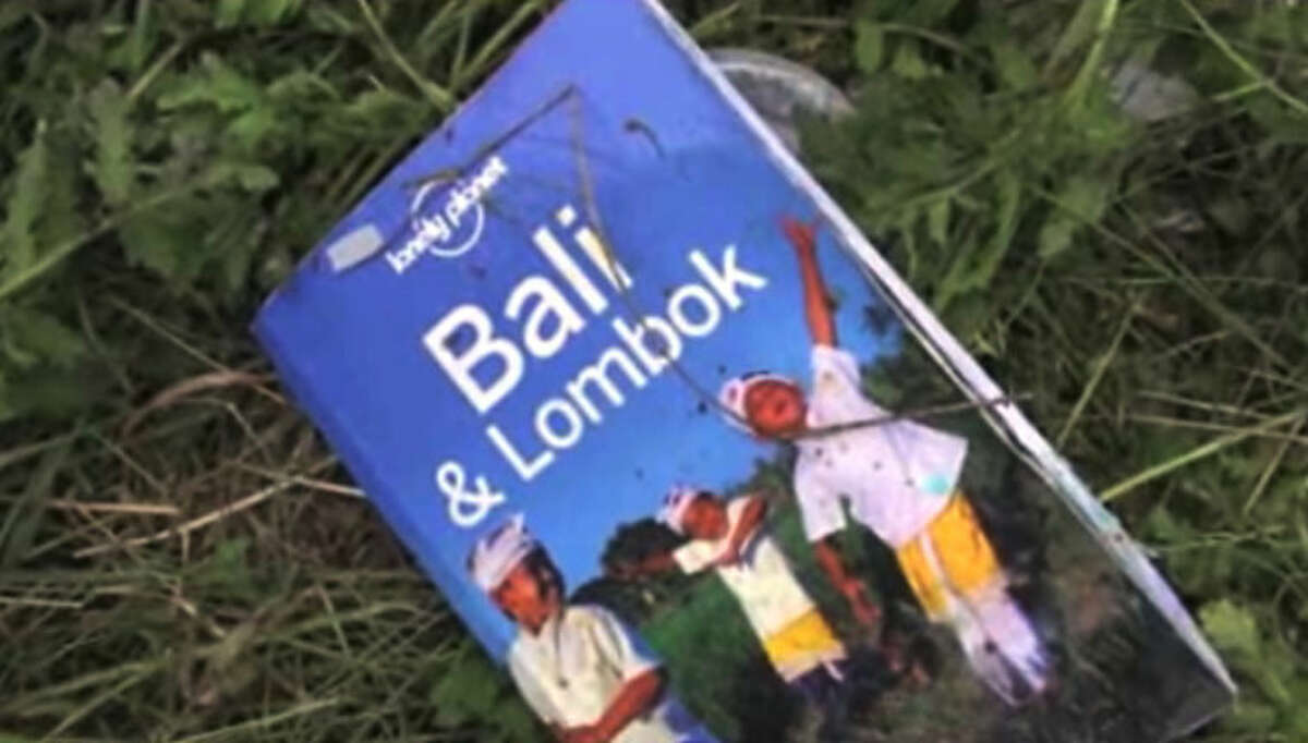 This image taken from video, Thursday July 17, 2014, shows a guidebook found in the wreckage of a passenger plane after it was shot down Thursday as it flew over Ukraine, near the village of Hrabove, in eastern Ukraine. Malaysia Airlines tweeted that it lost contact with one of its flights as it was traveling from Amsterdam to Kuala Lumpur over Ukrainian airspace. (AP Photo/Channel 1) RUSSIA OUT - TV OUT