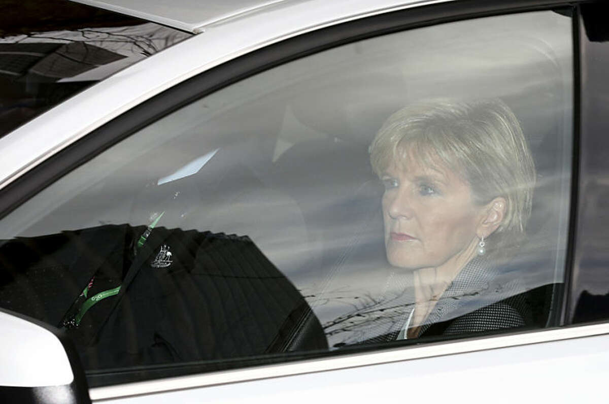Australian Foreign Minister Julie Bishop arrives at the Commonwealth Parliament Offices in Sydney, Australia, Friday, July 18, 2014. Bishop met with Russian Ambassador to Australia Vladimir Morozov to discuss over the crashed Malaysia Airlines Flight MH17 en-route from Amsterdam to Kuala Lumpur. (AP Photo/Rob Griffith)