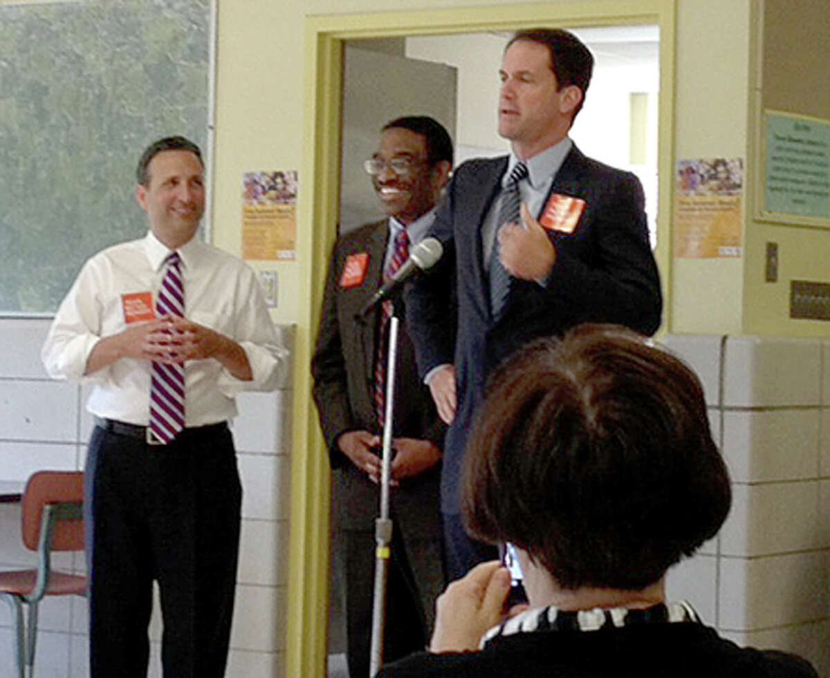 Photo by Meaghan Latella Congressman Jim Himes, D-4, touts the summer free lunch program in Norwalk on Monday.