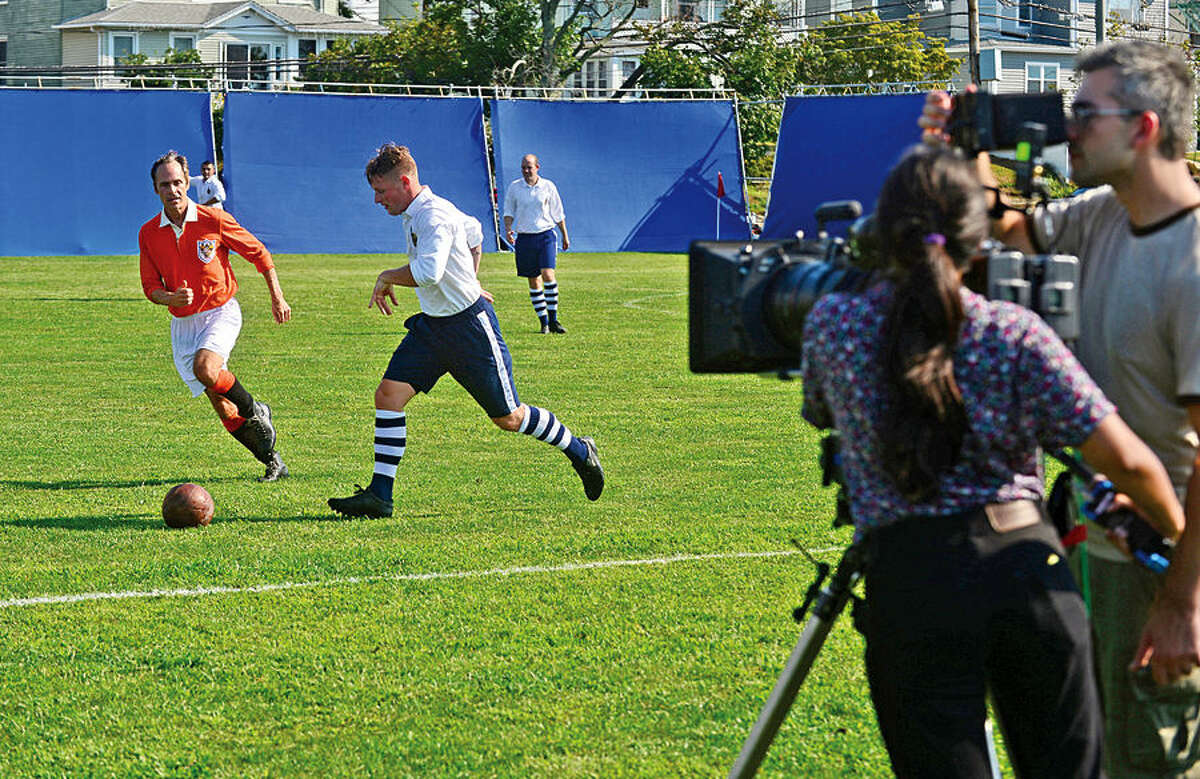 Hour photo / Erik Trautmann A production company out of Norwalk and Stamford, Zoe Productions, films part of a feature documentary about the legendary soccer player Sir Stanley Matthews Wednesday at Veterans Park in Norwalk.