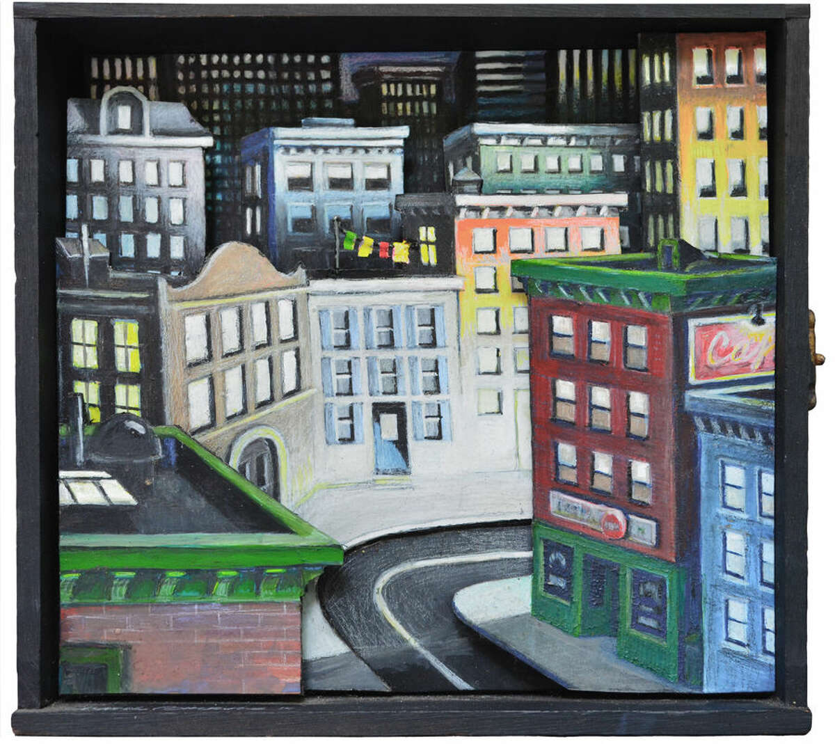 """Chance Browne: """"Bright Lights, Big City"""" (2015), Mixed media on cut paper in cigar box, approx. 7"""" x 8"""""""