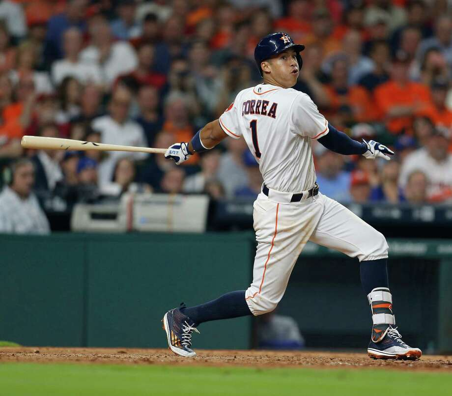 The Astros' Carlos Correa is being pitched differently this season - more fastballs - and it's working; he has struck out 68 times. Photo: Karen Warren, Staff / © 2016 Houston Chronicle