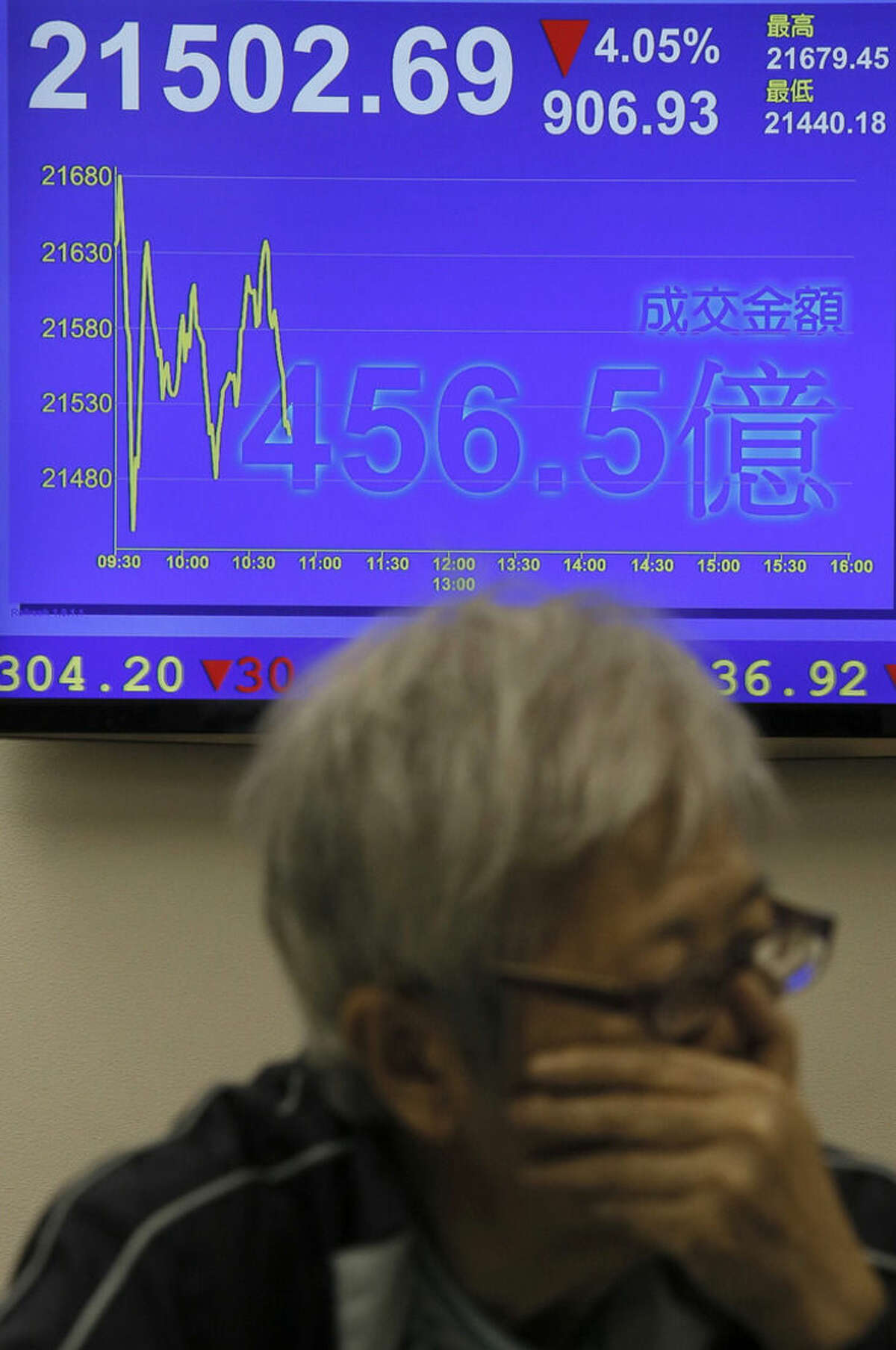A woman looks at stock index near an electronic board showing the Hong Kong share index at a security company in Hong Kong, Monday, Aug. 24, 2015. Stocks got a dismal start to the week in Asia, with China's main index losing up to 8.6 percent Monday as investors shaken by the sell-off last week on Wall Street unloaded shares in practically every sector. (AP Photo/Vincent Yu)