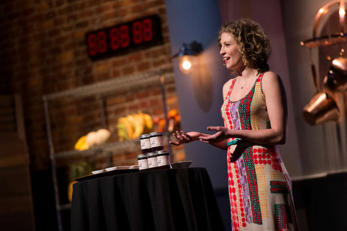 """Finalist Emma Frisch giving her presentation at the screening of the Star Challenge """"Product Commercials"""" as seen on Food Network Star, Season 10."""