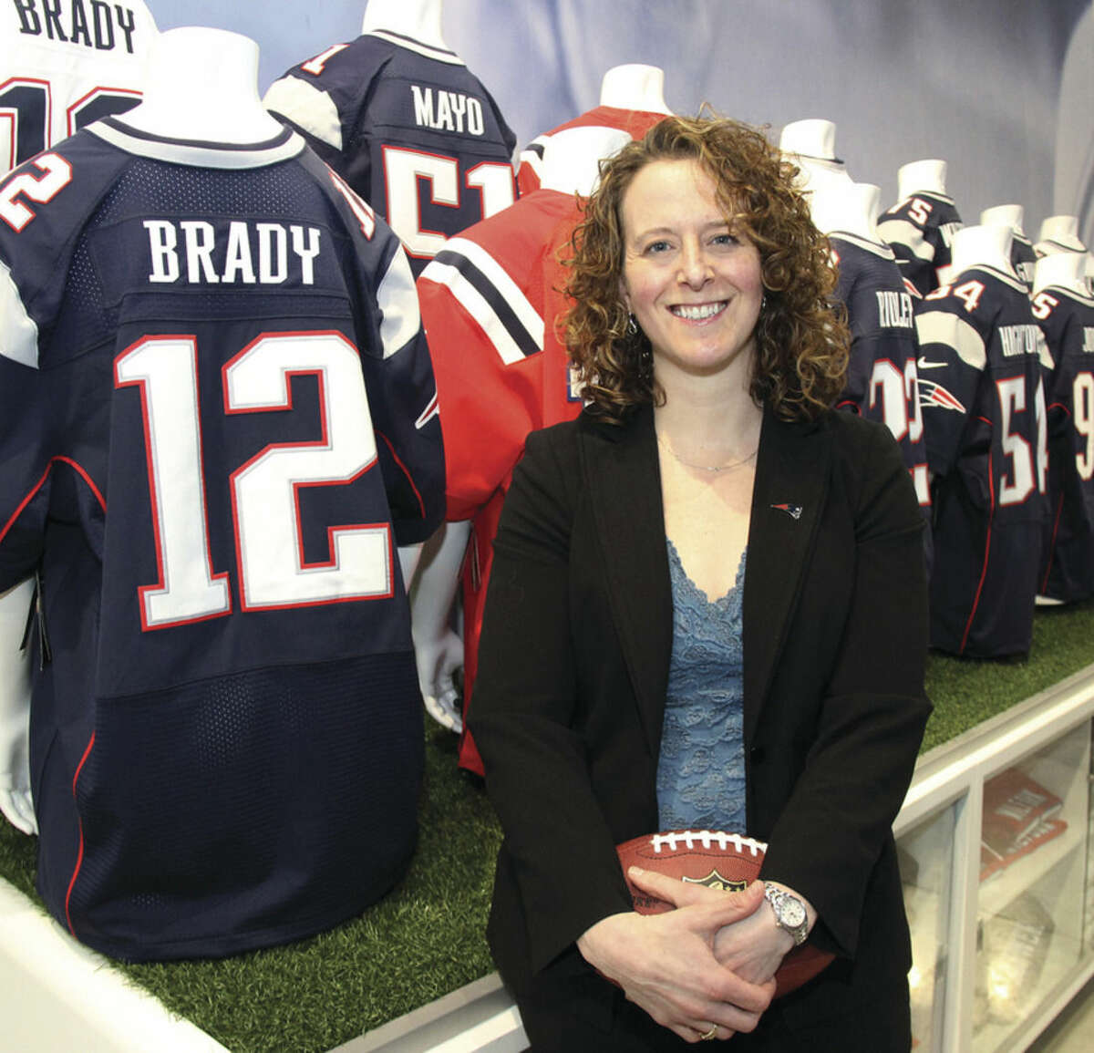 Courtesy of the New England Patriots/Christy Berkery Former Staples High basketball standout Jessica Gelman is winning more championships as part of the New England Patriots front office.