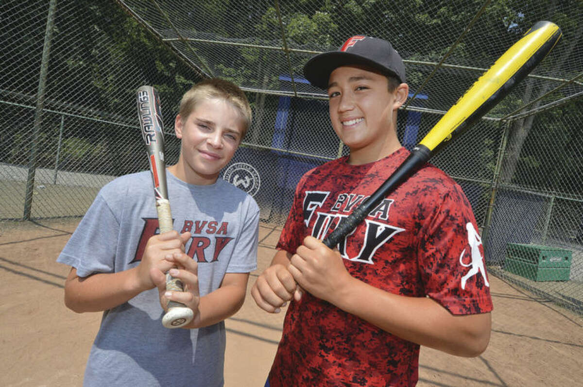 Hour photo/Alex von Kleydorff Toby Clark, left, and Jack DiNanno are heading to Japan on a 10 day tour with former major league manager Bobby Valentine.