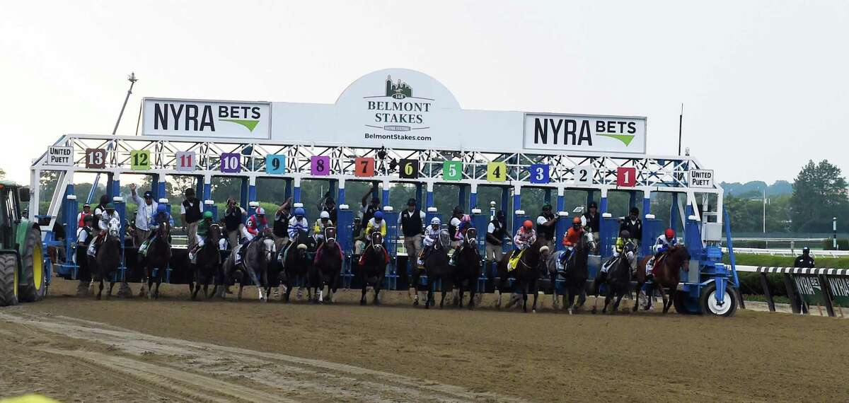 The field breaks the gate in the 148th running of The Belmont Stakes on Creator Saturday June 11, 2016 in Elmont, N.Y. (Skip Dickstein/Times Union)