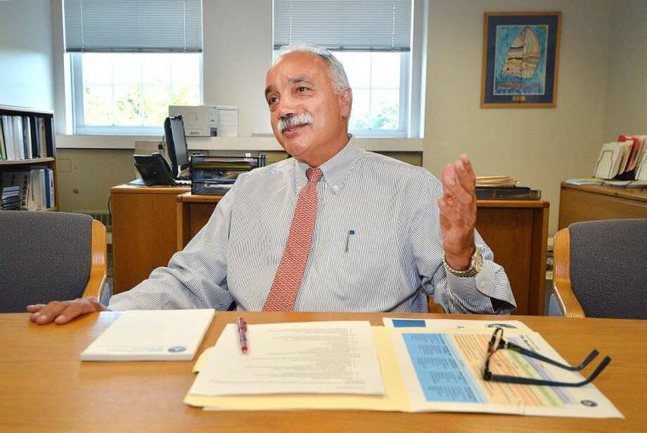 Hour Photo/Alex von Kleydorff Norwalk Superintendent of Schools Dr. Manuel Rivera reflects on the past year