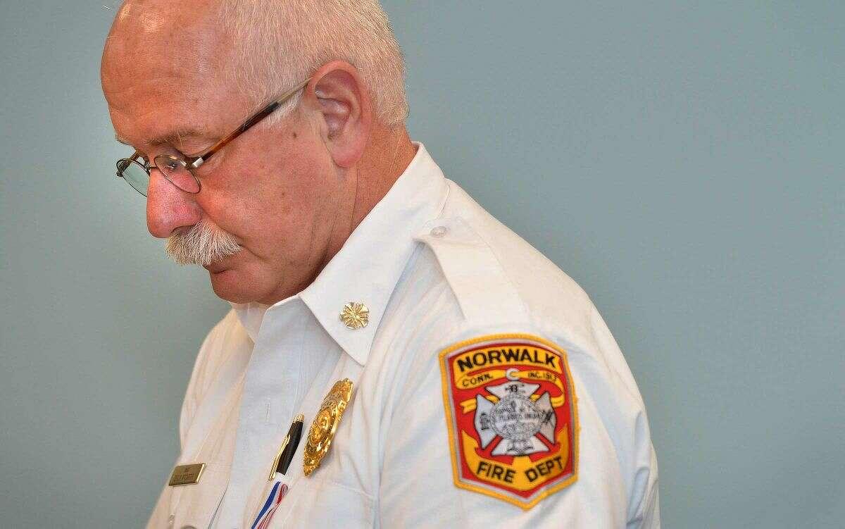 Hour Photo/Alex von Kleydorff Norwalk Fire Chief Denis McCarthy is a finalist for the top fire job in Fairfield.