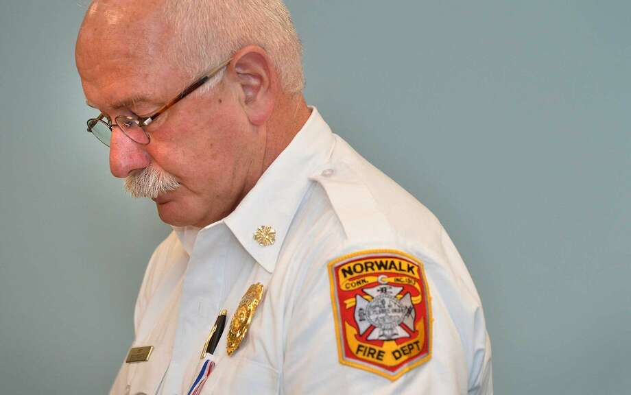 Hour Photo/Alex von Kleydorff Norwalk Fire Chief Denis McCarthy is a finalist for the top fire job in Fairfield.