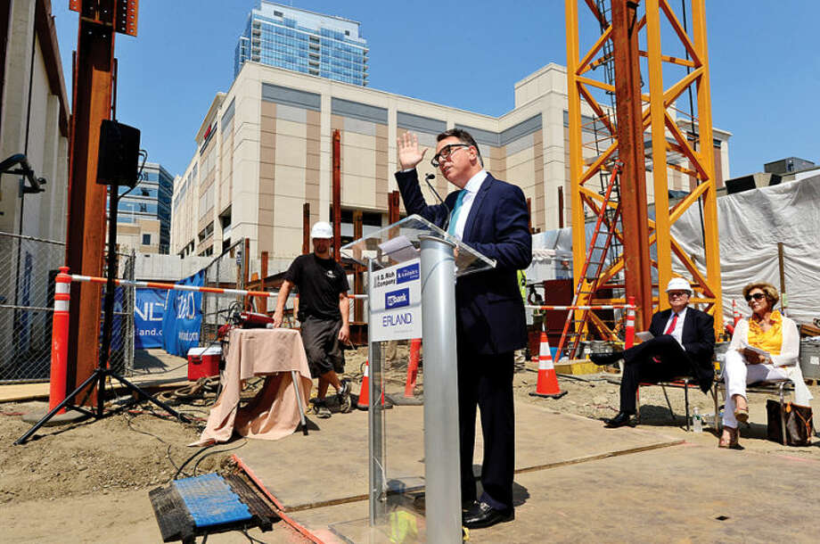 Tom Rich of the F. D. Rich Company speaks during a groundbreaking ceremony for the Summer House project located on lower Summer Street in Stamford. The 21-story apartment complex will incorporate 2,700 square feet of retail/restaurant space, 226 residential units and a fifth floor amenities space that includes a pool.