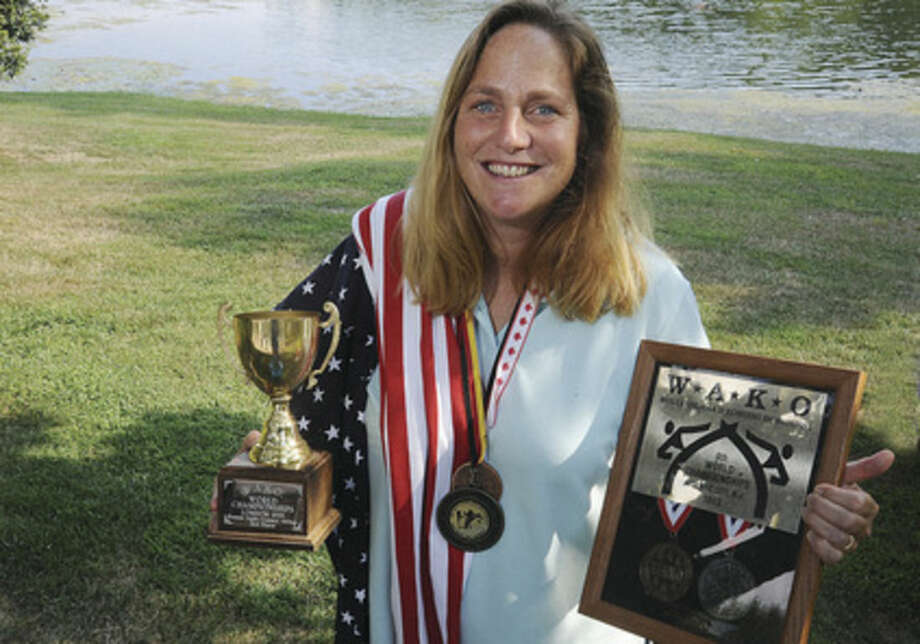 Lisa Crosby at her home in Wilton. Lisa won World Championships in karate and is an instructor. Hour photo/Matthew Vinci