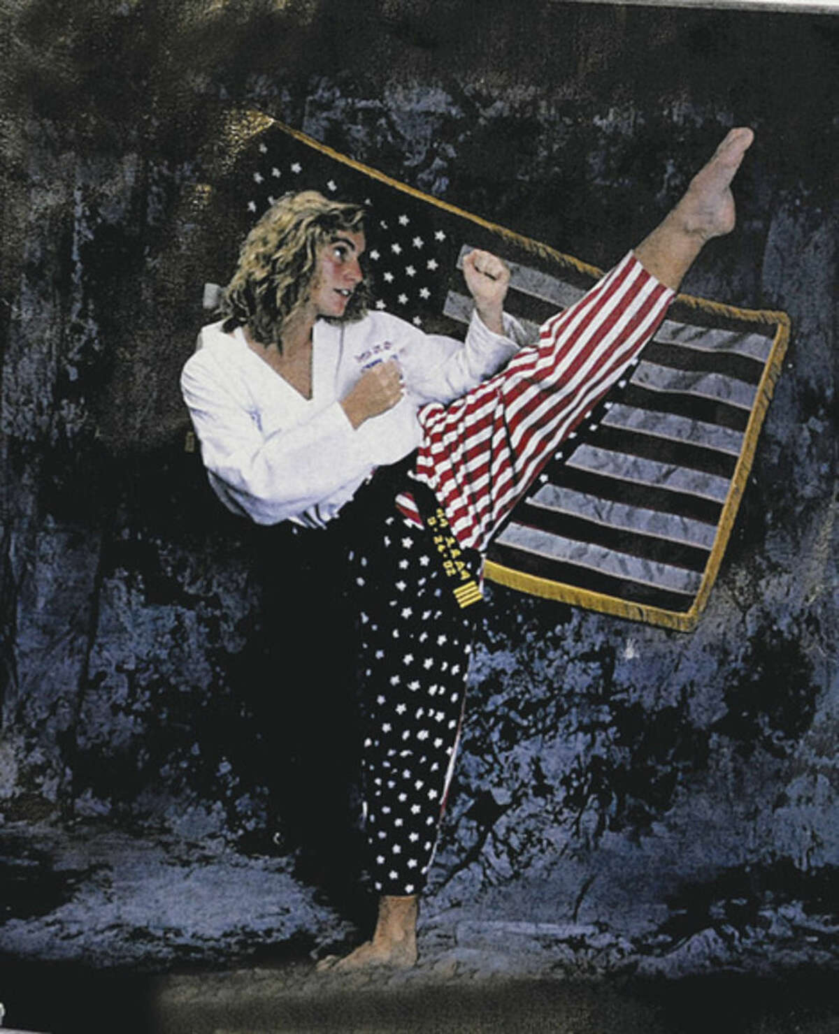 A photo of Lisa Crosby, Wilton karate instructor from a calendar of the U.S.A. Women's Team.