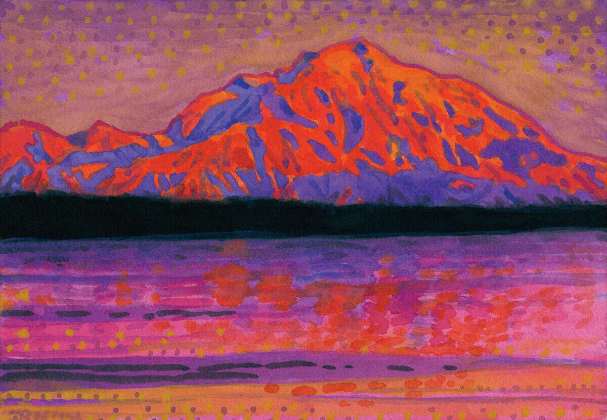 """Norwalk artist John Newcomb shares his 50 vivid watercolor paintings in his latest exhibition, """"Travels with John,"""" now on display at Wilton Library. The exhibit also features eight of the artist's large-scale acrylic paintings."""