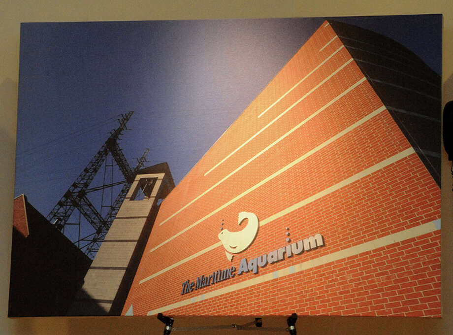 The Maritime Aquarium's IMAX entrance, part of photographer Erik Trautmann's photo show Tuesday at the South Norwalk Library. Hour photo/Matthew Vinci