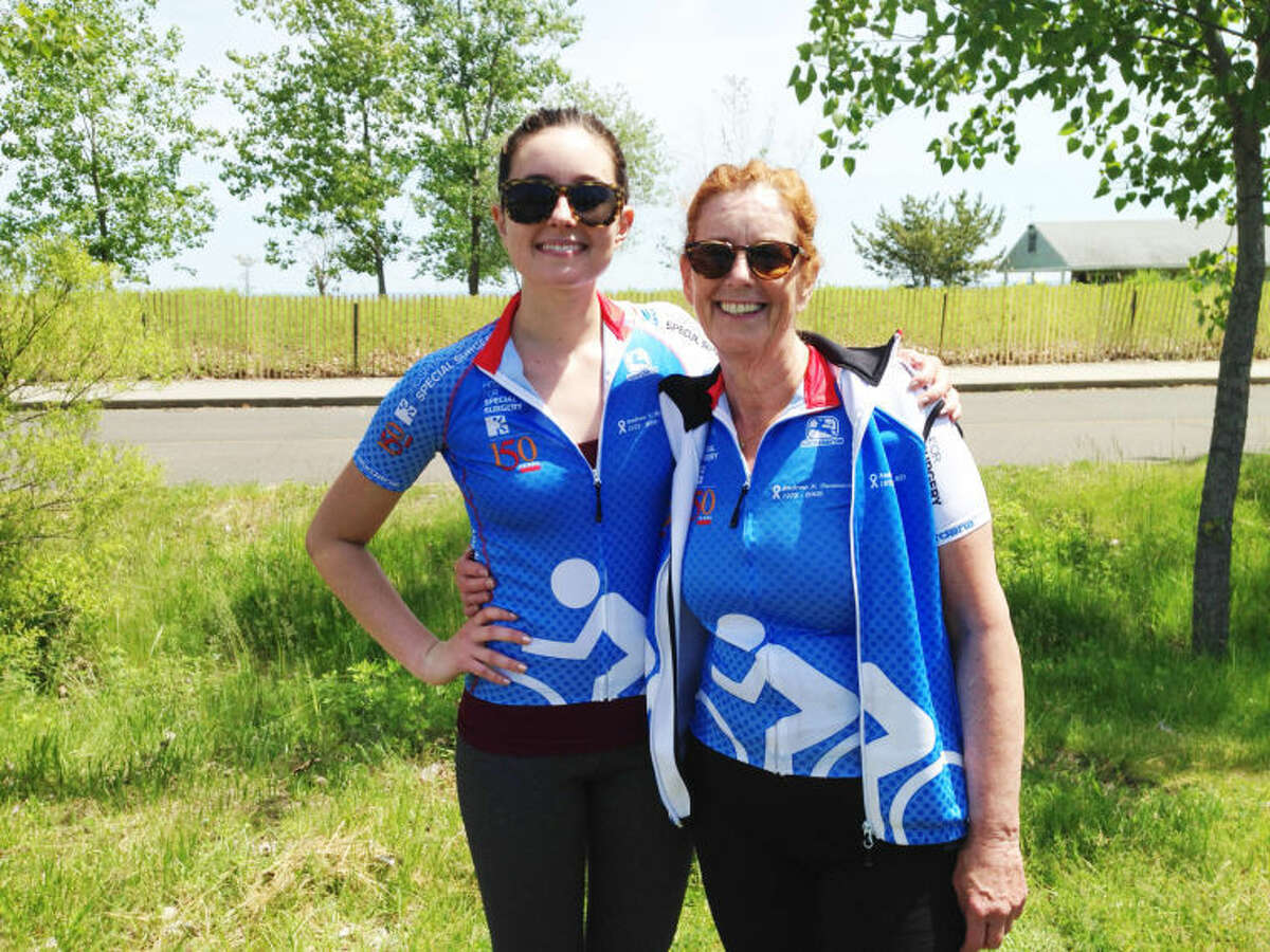 Mary Beth Barone, left, and her mother, Mary Barone, right, at this year's Bloomin' Metric bike ride in Westport. Mary Beth and her mother will join six other Stamford residents for the 35th annual Pan-Mass Bike Challenge bike-a-thon this weekend to help raise money for cancer research.