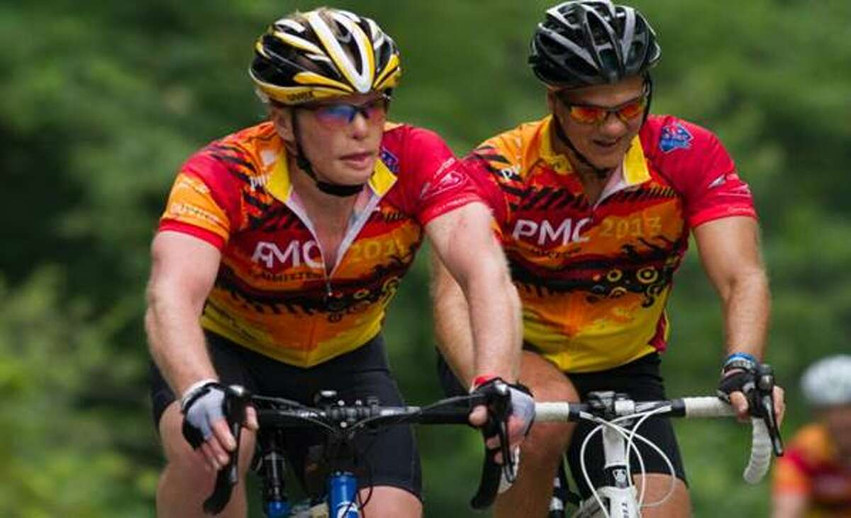 Stamford resident James Swan, left, rides in last year's Pan-Mass Challenge. Swan and seven other local residents are planning to participate in this year's 35th annual PMC event on Aug. 2 and 3 to raise funds for cancer research.