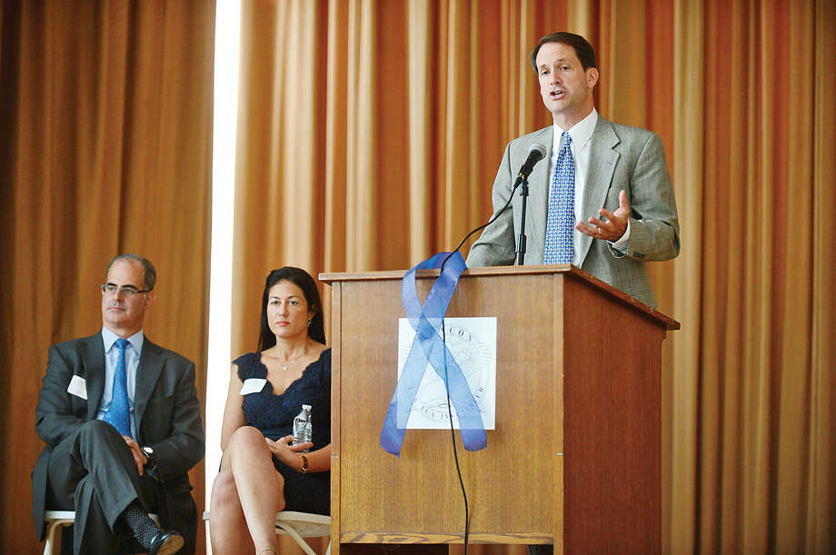 Hour photo / Erik Trautmann US Congressman Jim Himes speaks during The Beacon School press conference and dedication ceremony celebrating their move to the historic Hubbard Mansion in Stamford Thursday.