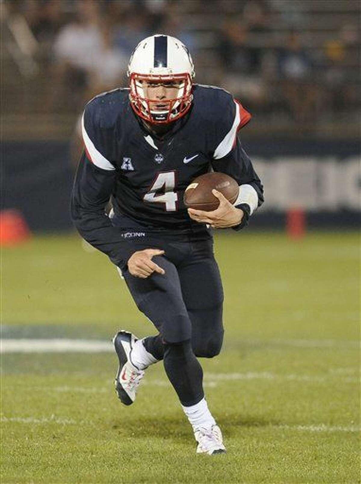 Connecticut quarterback Bryant Shirreffs (4) during the second half of an NCAA college football game at Pratt & Whitney Stadium at Rentschler Field against Villanova, Thursday, Sept. 3, 2015, in East Hartford, Conn. UConn won 20-15. (AP Photo/Jessica Hill)