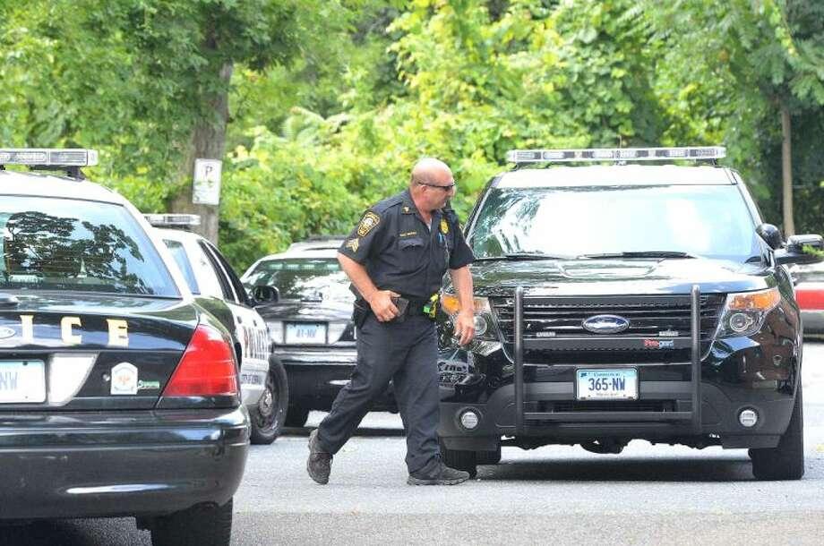 Hour Photo/Alex von KleydorffNorwalk Police swarmed the scene of a possible stabbing Wednesday.