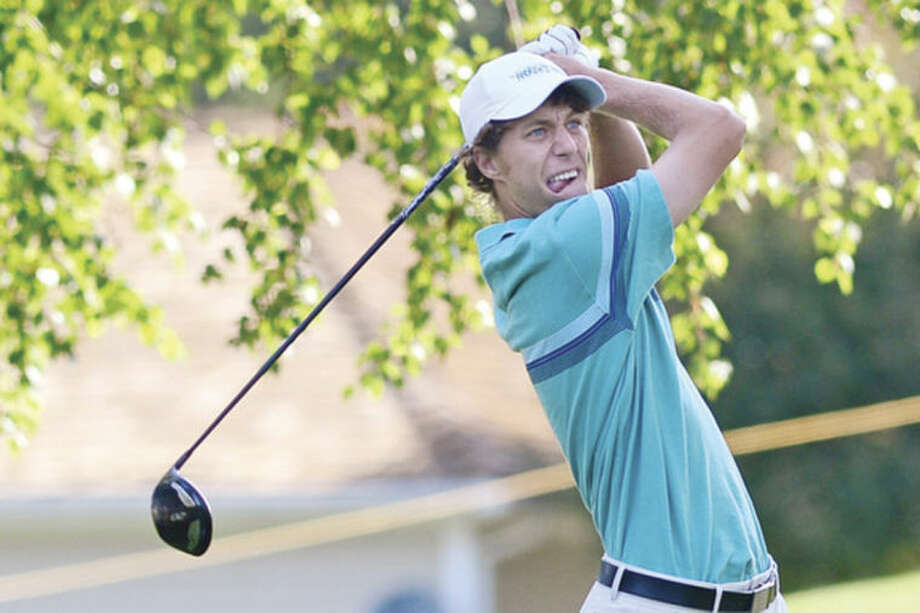 Hour photo/Erik TrautmannWestporter Andrew Gai hits off the first tee during The Connecticut Open Golf Championships at Rollings Hills Country Club in Wilton on Tuesday. Gai shot 77-72 and failed to make the cut for todays' third and final round.