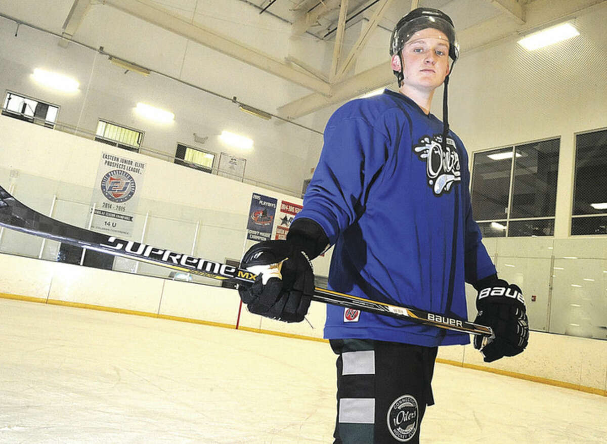 Hour photo/Matthew Vinci Connecticut Oilers EHL player Frazier Ellis has come to the SoNo Ice House from New Zealand with his eyes on a hockey future.