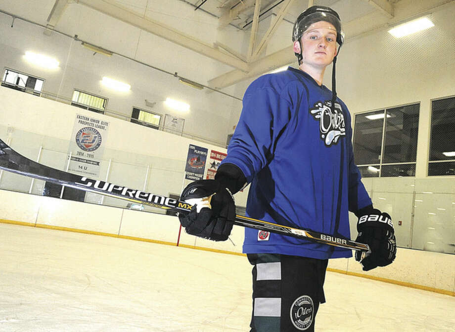 Hour photo/Matthew VinciConnecticut Oilers EHL player Frazier Ellis has come to the SoNo Ice House from New Zealand with his eyes on a hockey future.