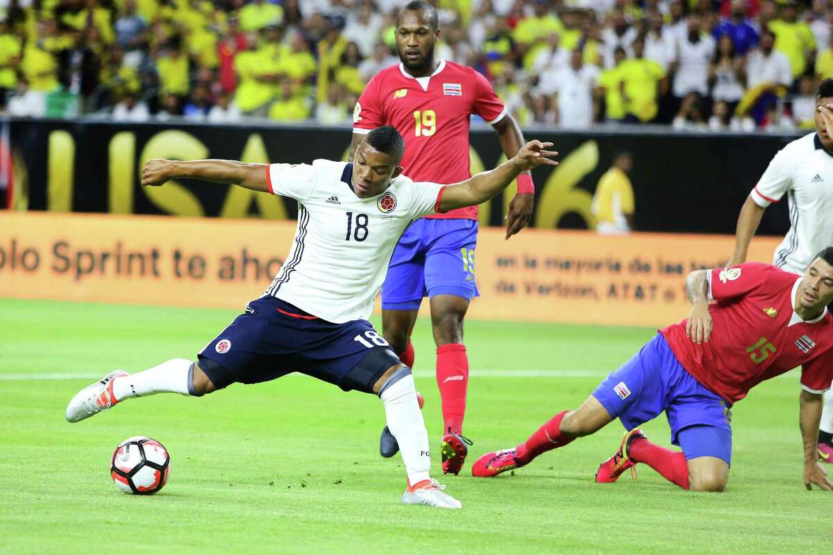 Colombia #18 Frank Fabra prepares to score in the 1st Half of action against Costa Rica the COPA match at NRG Saturday, June 11, 2016, in Houston.