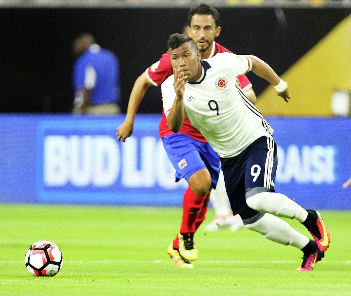 Colombia #9 Roger Martinez Prepares pushes the ball up field the 1st Half of action against Costa Rica the COPA match at NRG Saturday, June 11, 2016, in Houston.