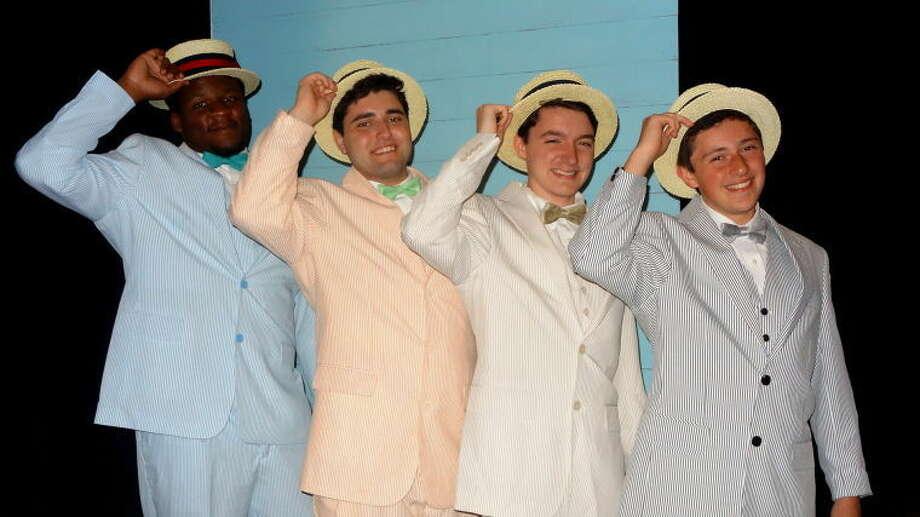 "Left to right: Winston Sinclair, Matthew McArthur, Aiden Meachem and Jason Nekritz, members of the barbershop quartet in ""The Music Man."""