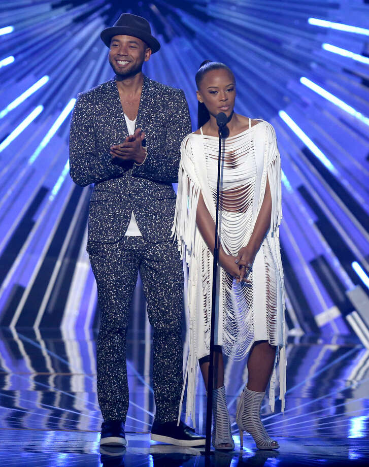 Jussie Smollett, left, and Serayah present the award for video with a social message at the MTV Video Music Awards at the Microsoft Theater on Sunday, Aug. 30, 2015, in Los Angeles. (Photo by Matt Sayles/Invision/AP)