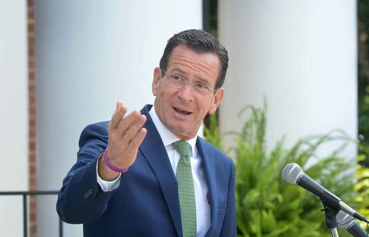 Hour Photo/Alex von Kleydorff Gov Dan Malloy talks in front of Wilton Town Hall about the Gas Pipeline to be built thanks to the states comprehensive energy strategy