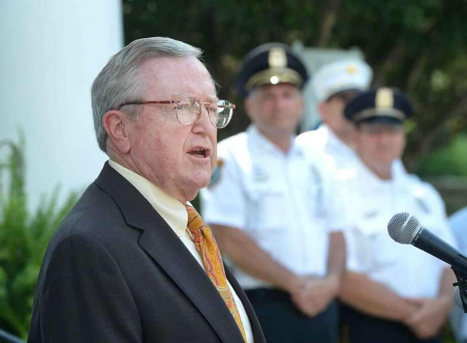 Hour Photo/Alex von Kleydorff Bill Brennan speaks during a ceremony to announce the construction of a natural gas line in Wilton