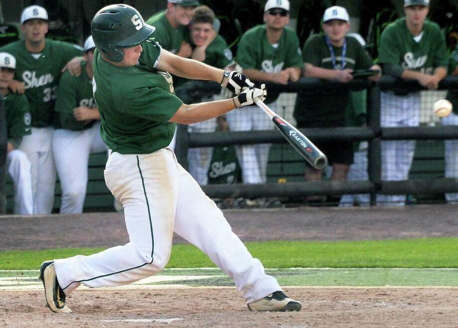Shen's Joe Palko drives in the winning run during their victoryover Webster Schroeder for the Class AA state championship Saturday June 11, 2016 in Binghamton, NY.   (John Carl D'Annibale / Times Union) Photo: John Carl D'Annibale / 40036905A