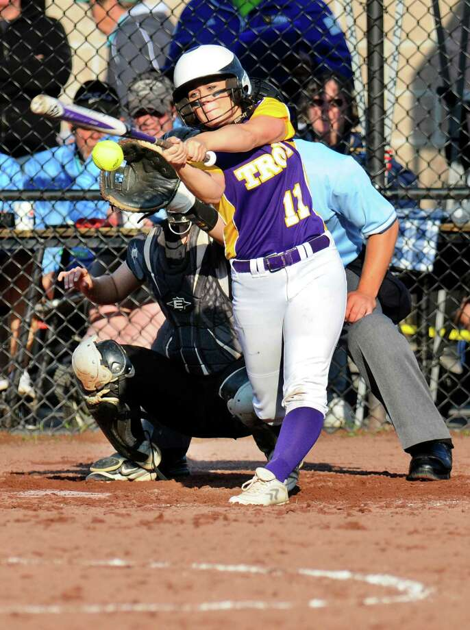 Troy's Allison Discanio (11) bats against Clarke in the New York State Public High School Softball Class A state semifinal game in South Glens Falls, N.Y., Saturday, June 11, 2016. (Hans Pennink / Special to the Times Union) Clarke won the game 8-2    ORG XMIT: HP115 Photo: Hans Pennink / Hans Pennink