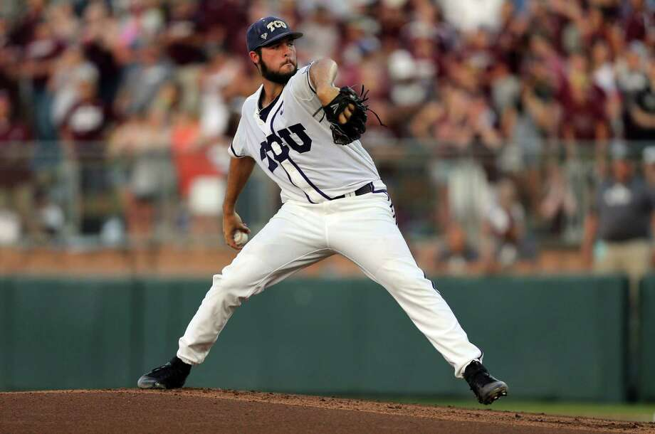 Mitchell Traver allowed one run over seven innings, striking out eight, to keep second-seeded TCU alive in the Big 12 Conference Tournament with a 9-2 victory over Texas on Saturday. Photo: Sam Craft, Associated Press / AP