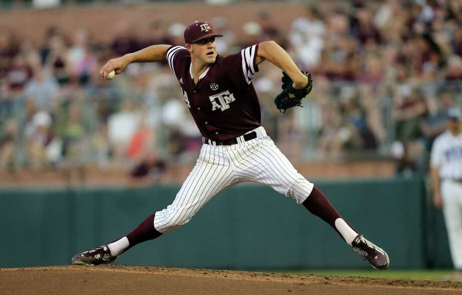 Texas A&M's Kyle Simonds pitches against TCU during the first inning of an NCAA college baseball tournament super regional game Saturday, June 11, 2016, in College Station, Texas. (AP Photo/Sam Craft) Photo: Sam Craft, Associated Press / AP