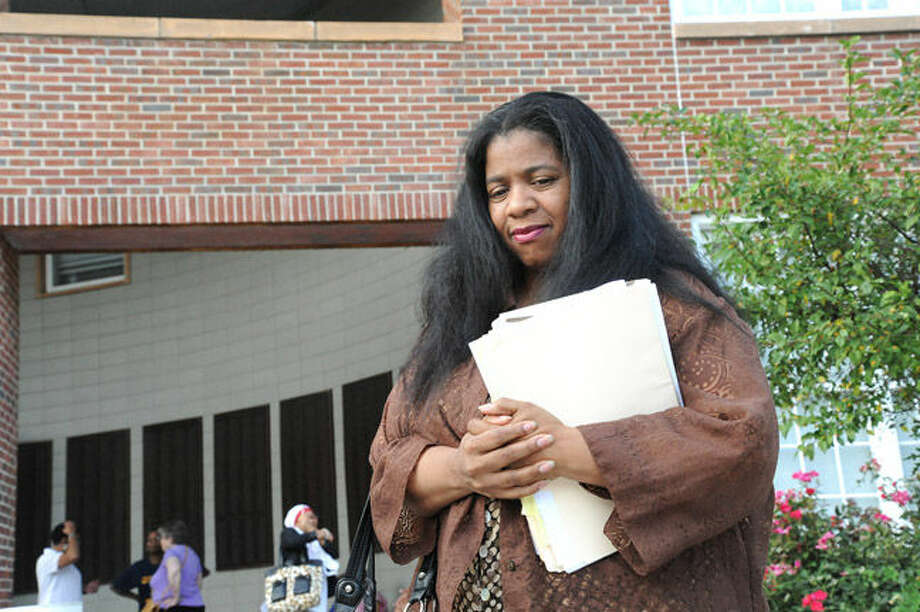 Board of Education member Shirley Mosby outside of Norwalk City Hall Tuesday night where supporters of her are asking for the resignation of of two Board of Education members because of a comment made about her. Hour photo/Matthew Vinci