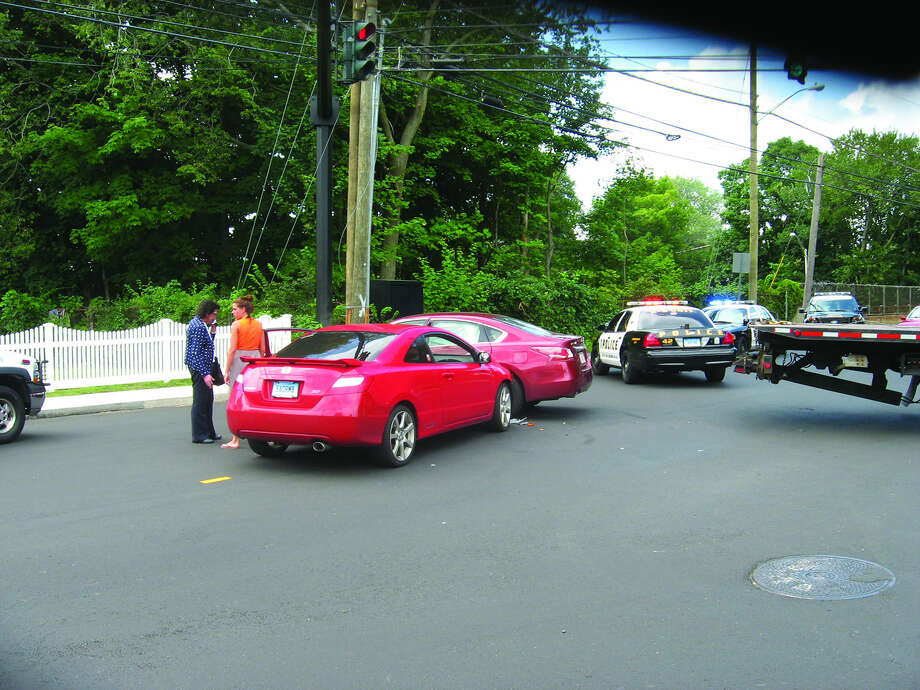 Contributed photoA car accident on the corner of Norden Place and Strawberry Hill Avenue sent at least two people to the hospital and temporarily closed the intersection Wednesday afternoon.