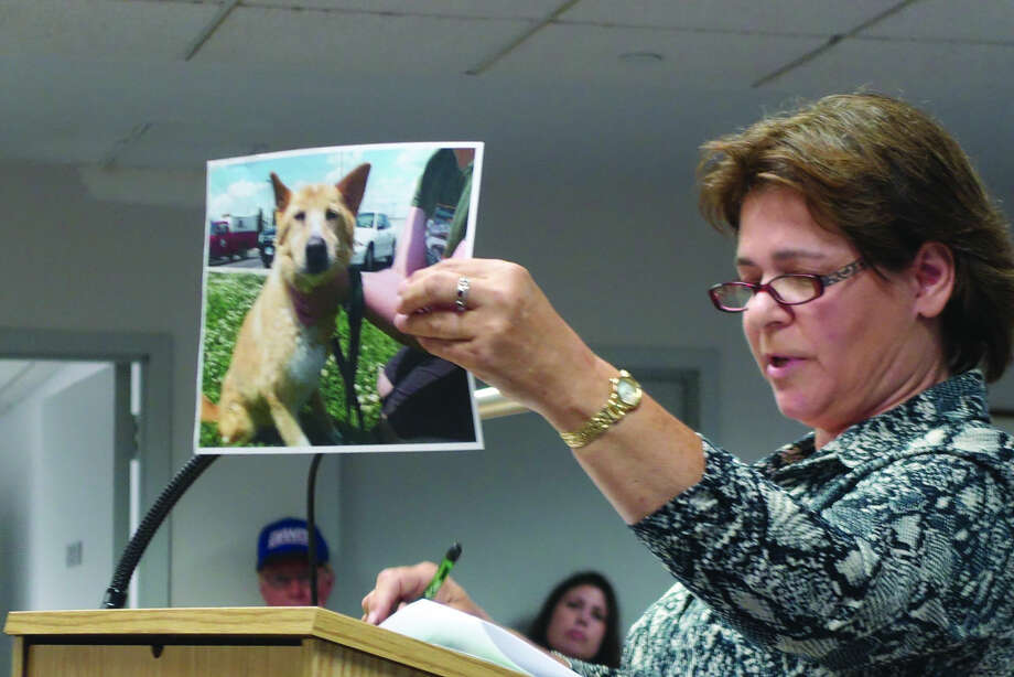 Jenny Colucci holds up a photo of a dog saved thanks to no kill shelters at the public forum Tuesday.